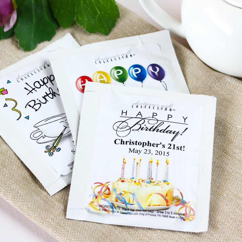 Personalized Classic Birthday Party Tea Bags