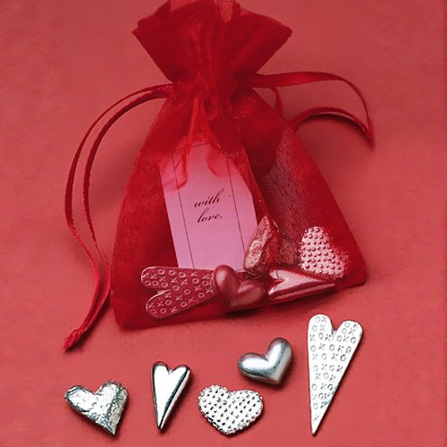 Bag of Pewter Hearts
