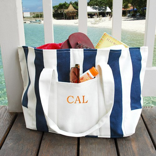 Embroidered Canvas Beach Totes