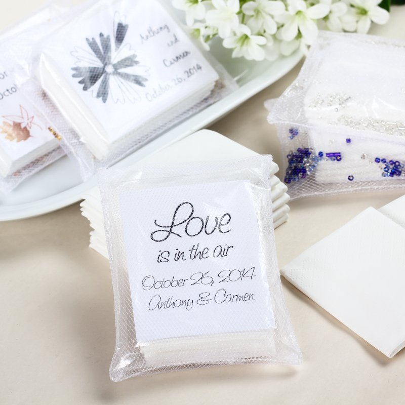 Personalized Tissue Packs in Tulle Wrap