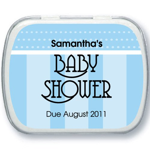 Dots and Pinstripes Personalized Baby Shower Favor Mint Tins