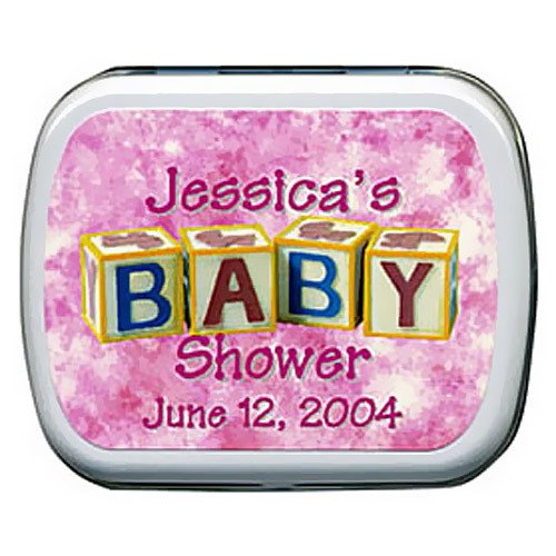 Personalized Baby Shower Mint Tins - Baby Block Designs
