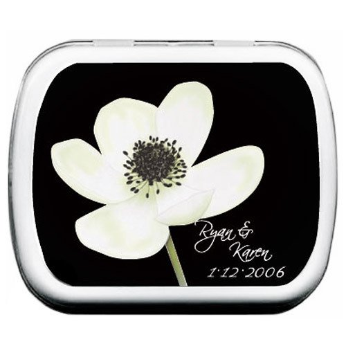 White Anemone Flower Wedding Mint Tins