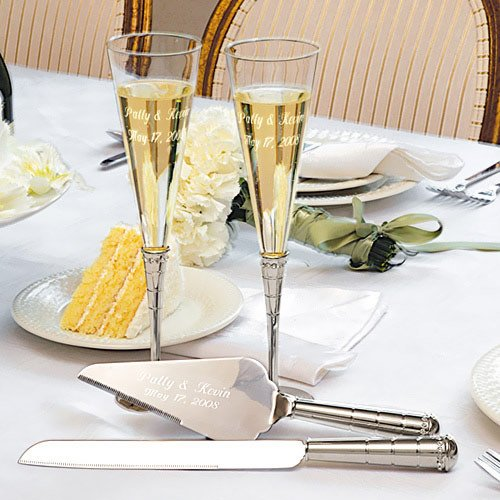 Personalized Champagne Flutes and Cake Server Set