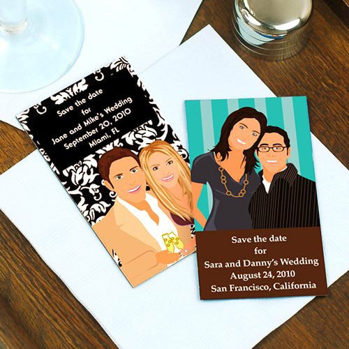 Custom Caricature Save the Date Magnets