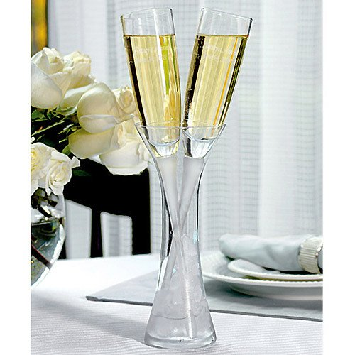 Engraved Champagne Flutes in Crystal Vase