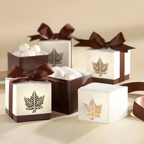 Chocolate Brown Fall Leaf Favor Boxes