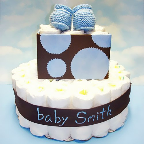 Blue and Brown Perosnalized Baby Diaper Cake