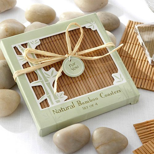 Eco-friendly Natural Bamboo Coaster Favors