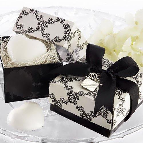 Damask Heart Shaped Soap Favor