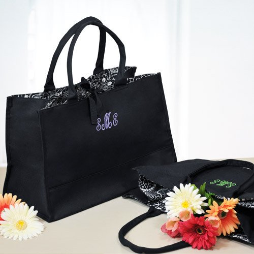Monogram Damask Lined Tote Bag