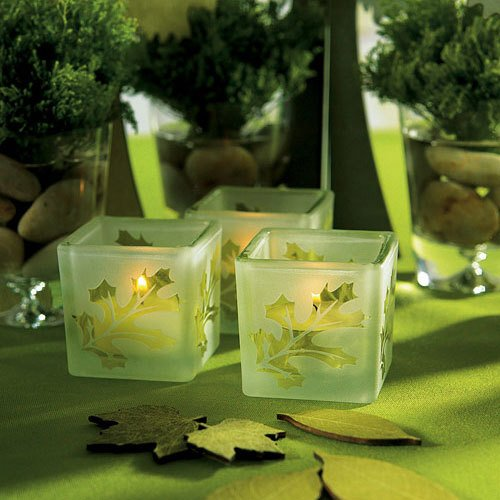 Glass Leaf Tea Light Holders