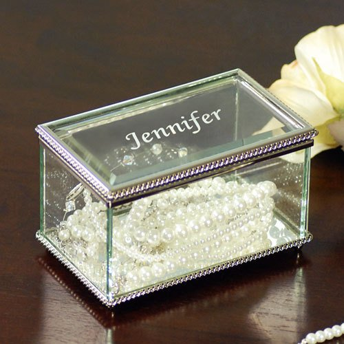 Engraved Beveled Glass Jewelry Box