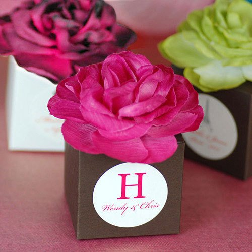 Personalized Flower Topped Favor Box