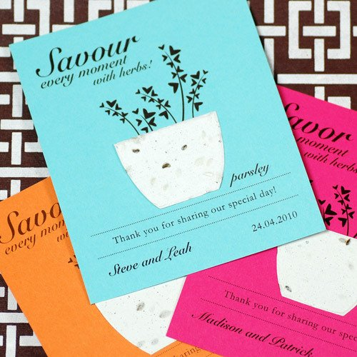 Personalized Plantable Herb Seed Card Favor