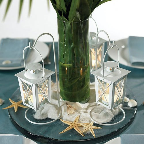 Mini White Hanging Lantern Tea Light Holders