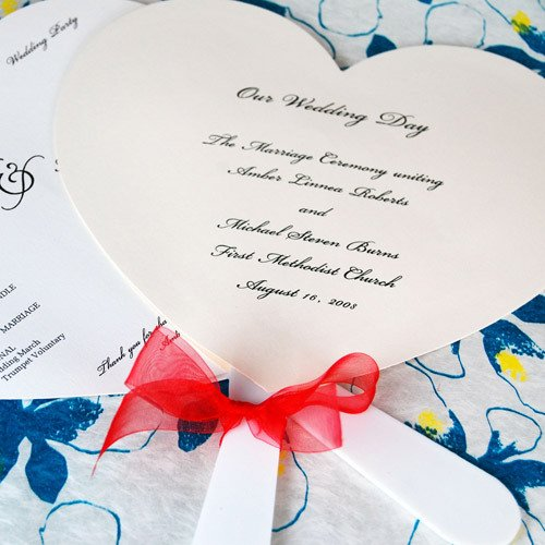 Heart Wedding Program Hand Fans