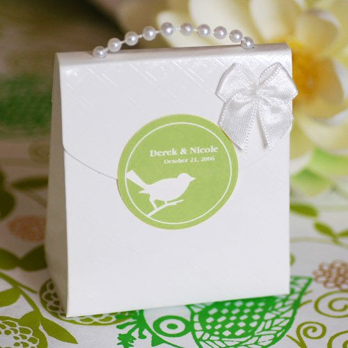 White Pearl Handle Favor Bag