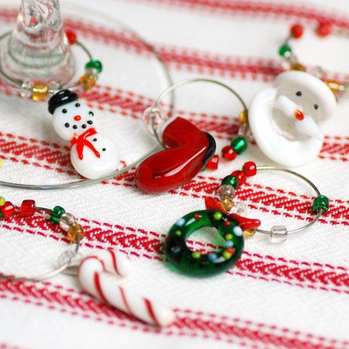 Mini Christmas Wine Charms