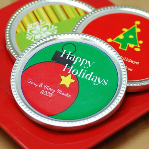 Personalized Holiday Chocolate Disc Favor