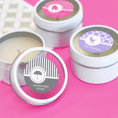 Mini Personalized Round Clear Top Candle Baby Shower Favor