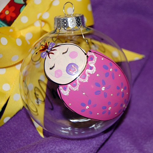 Personalized Hand Painted Baby's 1st Christmas Glass Ornament