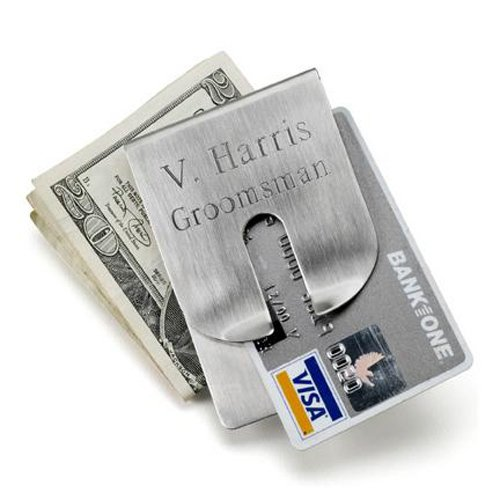 Engraved Silver Money Clip Wallet