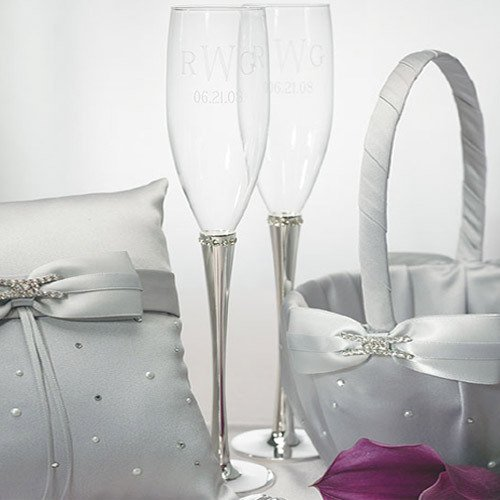 Personalized Crystal Studded Toasting Flutes