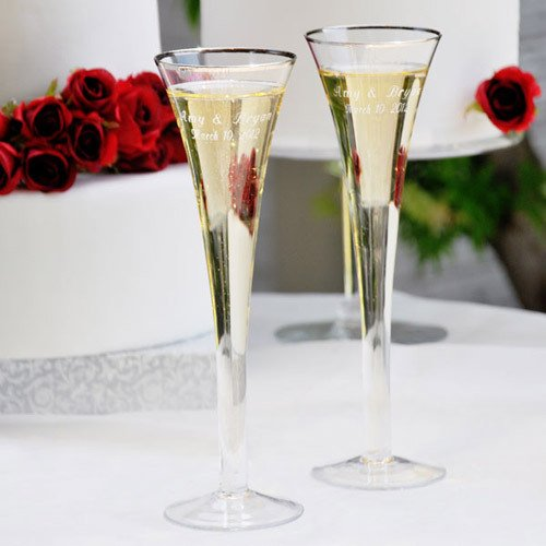 Personalized Trumpet Wedding Toasting Flutes