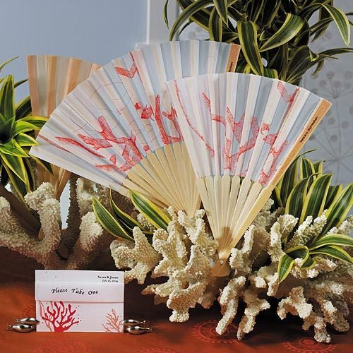Coral Hand Fans with Personalized Labels