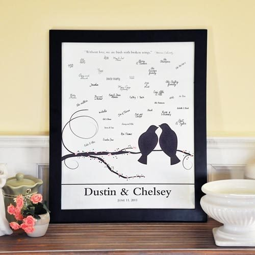 Lovebirds Canvas Signature Frame