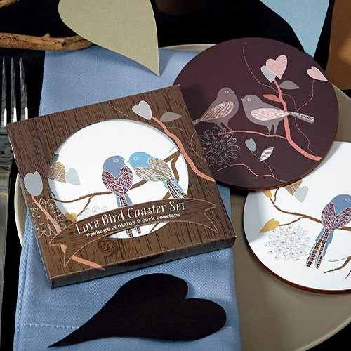 Love Birds Coasters with Personalized Labels