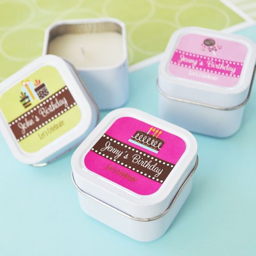 Mini Square Personalized Candle Birthday Favor