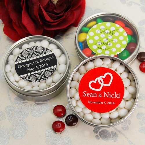 Personalized Wedding Clear Top Candy Tin