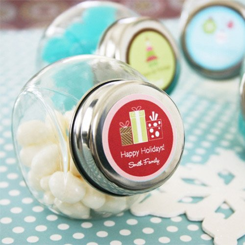 Personalized Mini Glass Holiday Candy Jar