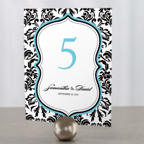Personalized Damask Table Number Cards