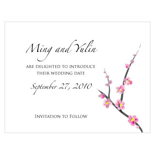 Personalized Mini Cherry Blossoms Save the Date Cards