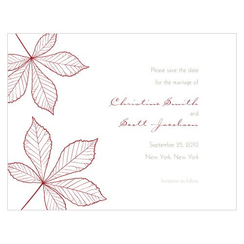 Personalized Autumn Leaves Save the Date Cards