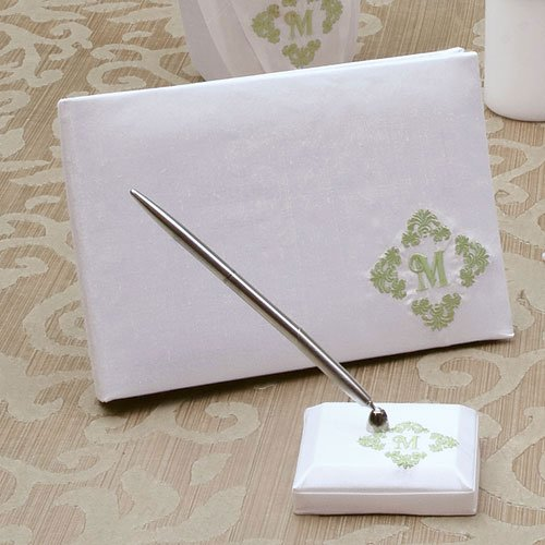 Silk Flourish Monogram Guest Book