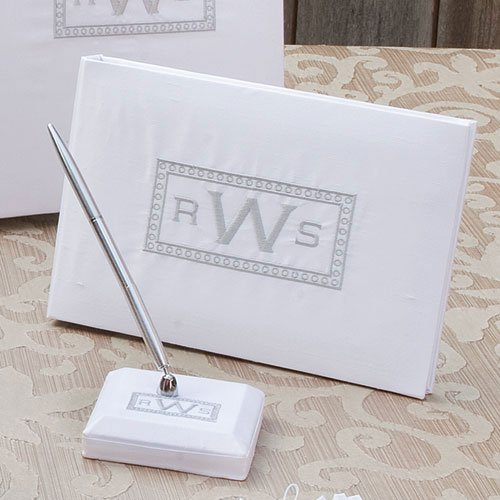 Silk Rectangle Monogram Guest Book