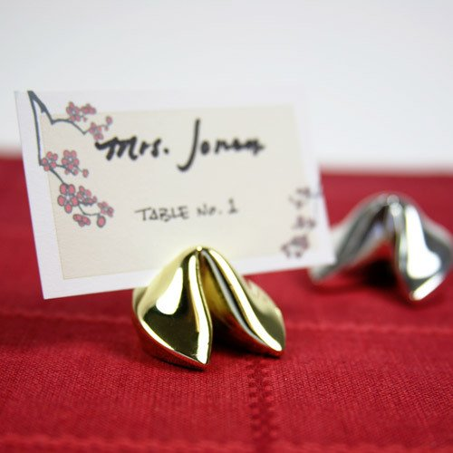 Gold Fortune Cookie Place Card Holders