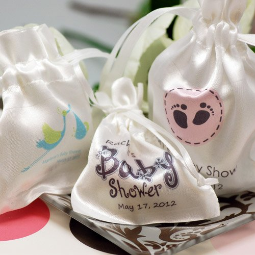 Personalized Satin Drawstring Baby Shower Favor Bag