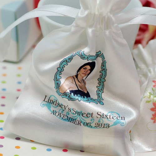 Personalized Satin Drawstring Birthday Favor Bag