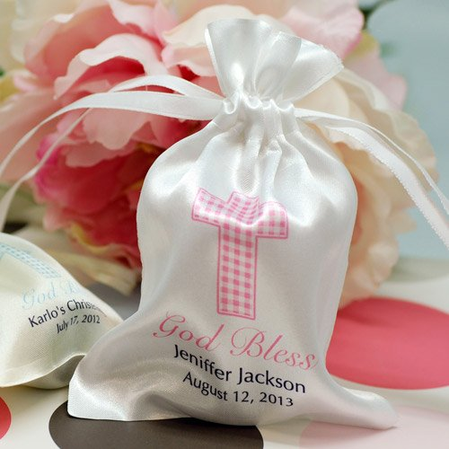 Personalized Satin Drawstring Party Favor Bag