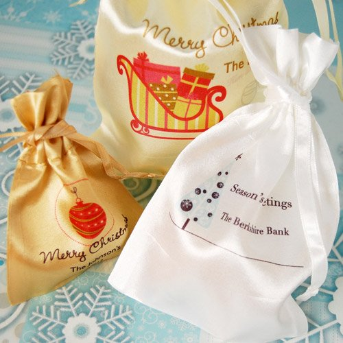 Personalized Satin Drawstring Holiday Favor Bag