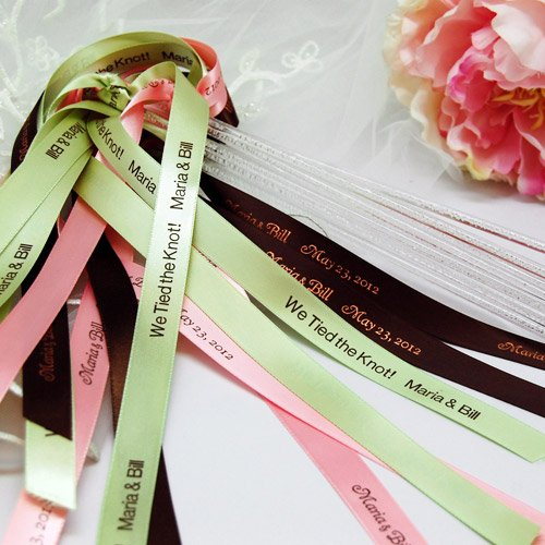 Personalized Wedding Ribbon Wands