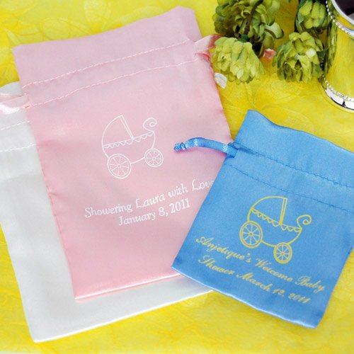 Personalized Color Satin Baby Shower Favor Bag