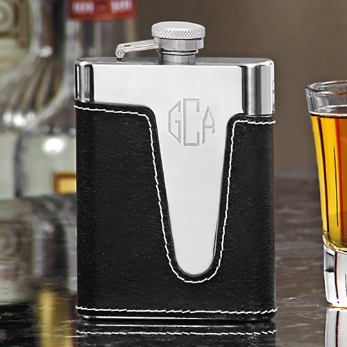 Engraved Black Leather Flasks