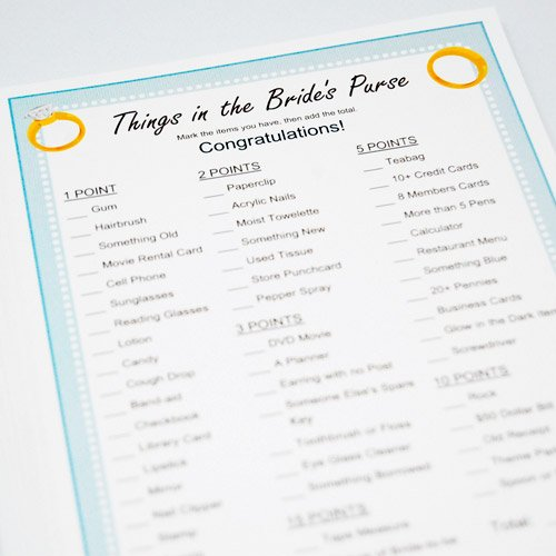 Exclusive Personalized Things in a Bride's Purse Game