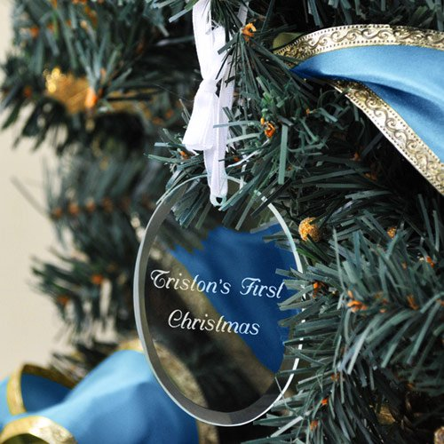 Personalized Glass Oval Baby's First Christmas Ornament